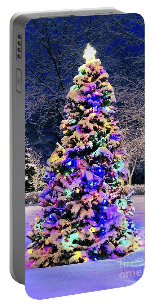 Christmas Portable Battery Charger featuring the photograph Christmas Tree In Snow by Elena Elisseeva