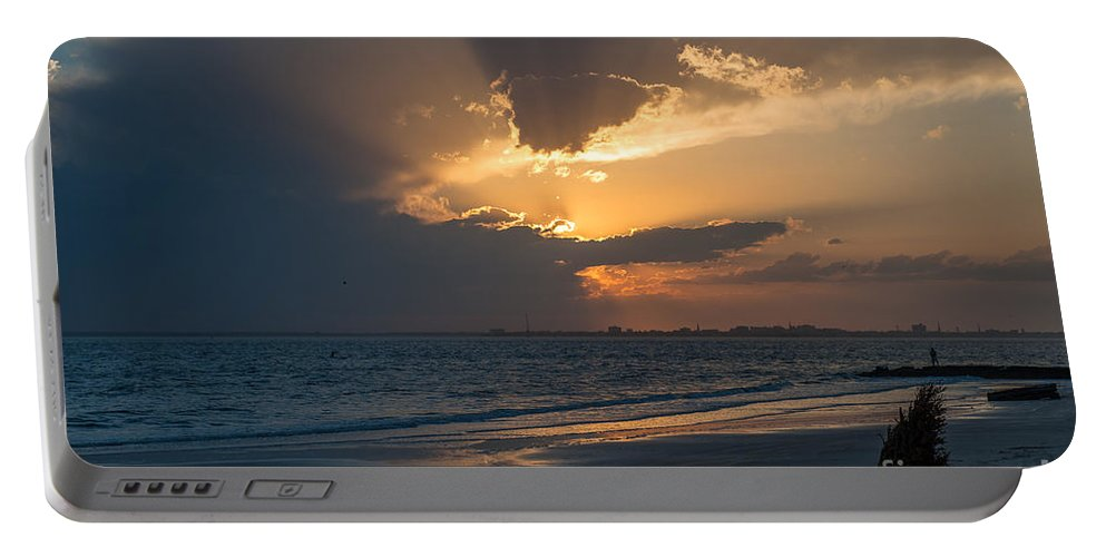 Sunset Portable Battery Charger featuring the photograph Christmas Tree On Beach by Dale Powell