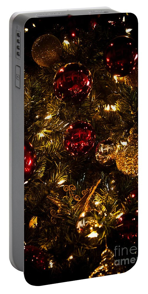 Red Portable Battery Charger featuring the photograph Christmas Tree Ornaments 3 by Joann Copeland-Paul