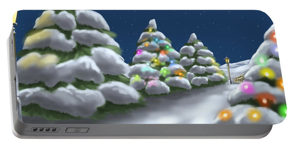 Ipad Portable Battery Charger featuring the painting Christmas Trees by Veronica Minozzi