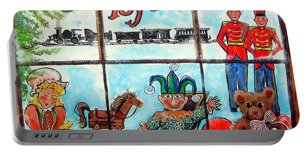 Christmas Portable Battery Charger featuring the painting Christmas Window by Linda Shackelford