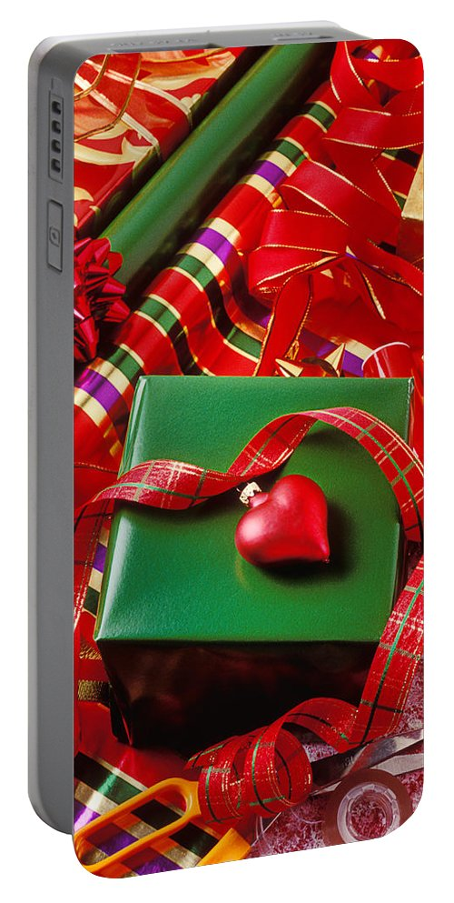 Christmas Portable Battery Charger featuring the photograph Christmas Wrap With Heart Ornament by Garry Gay