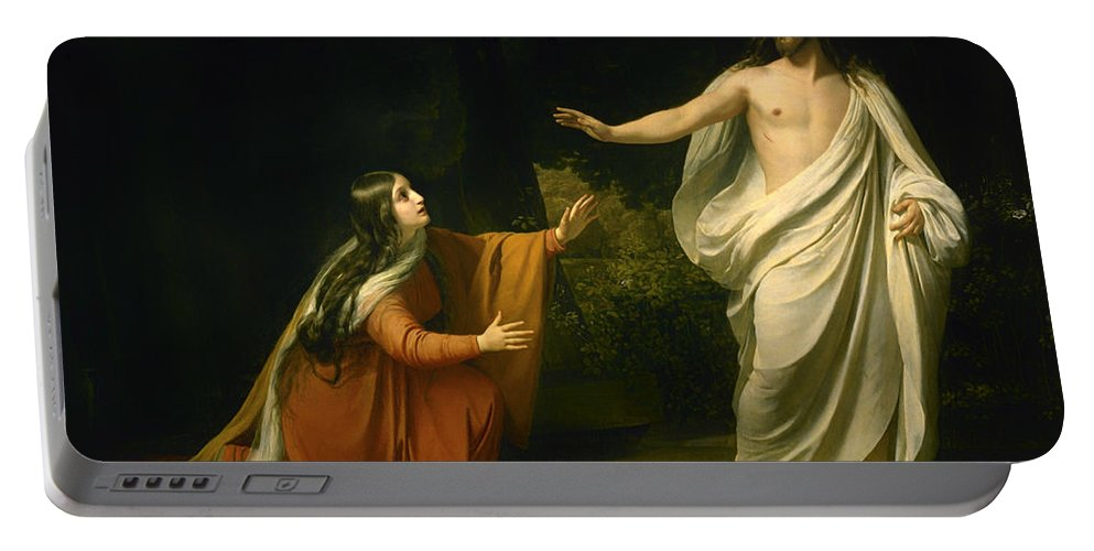 Alexander Andreyevich Ivanov Portable Battery Charger featuring the painting Christs Appearance To Mary Magdalene After The Resurrection by Alexander Andreyevich Ivanov