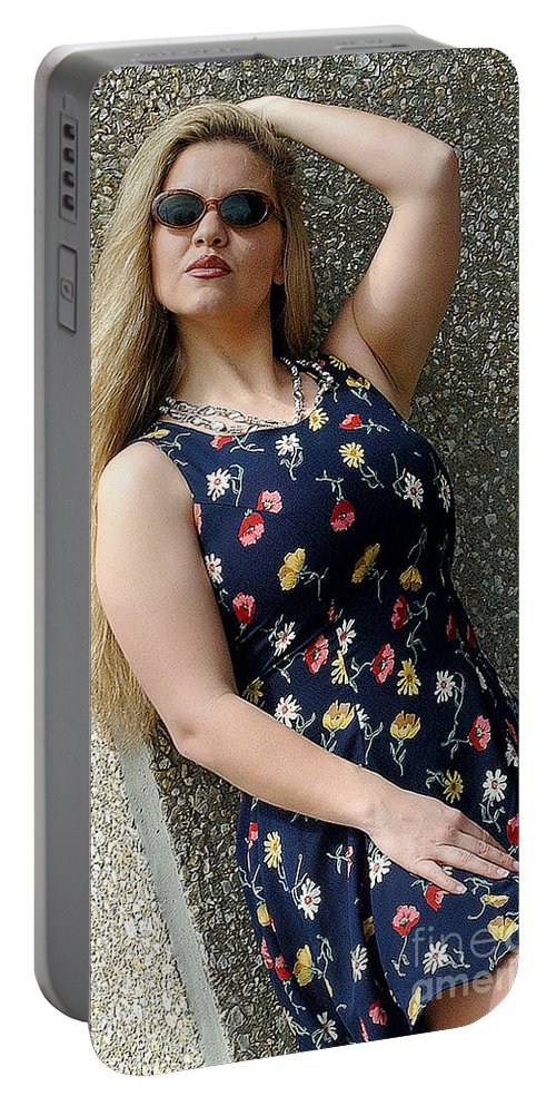Woman Portable Battery Charger featuring the photograph Christy Blue Minidress-40-2 by Gary Gingrich Galleries