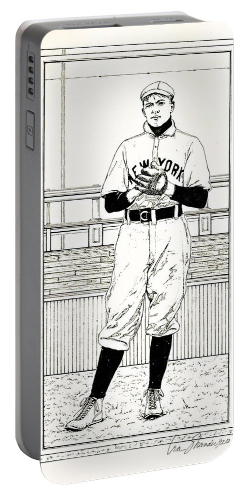 Christy Mathewson Portable Battery Charger featuring the drawing Christy Mathewson by Ira Shander