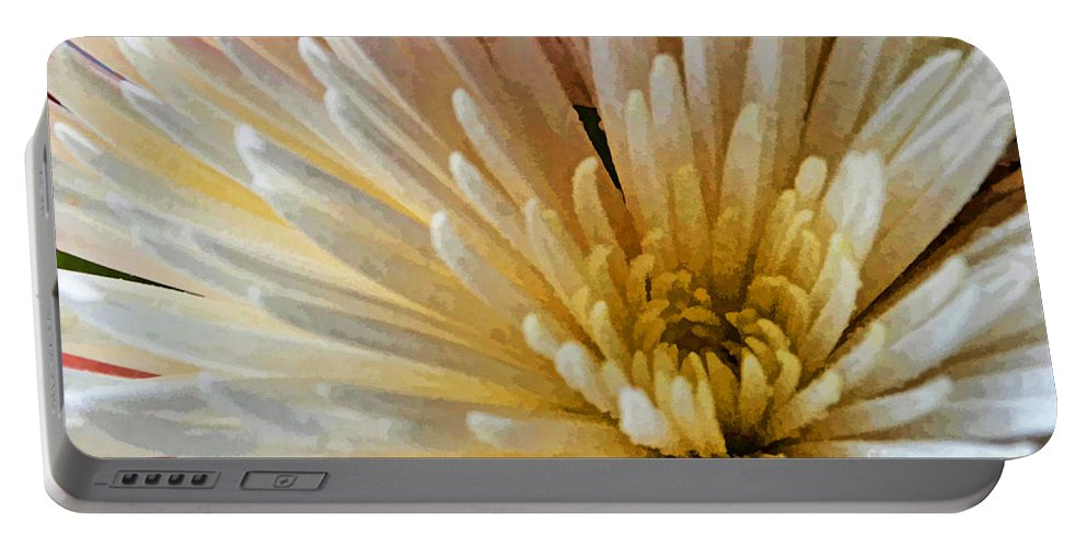 Nature Portable Battery Charger featuring the photograph Chrysanthemum Macro Digital Paint by Debbie Portwood