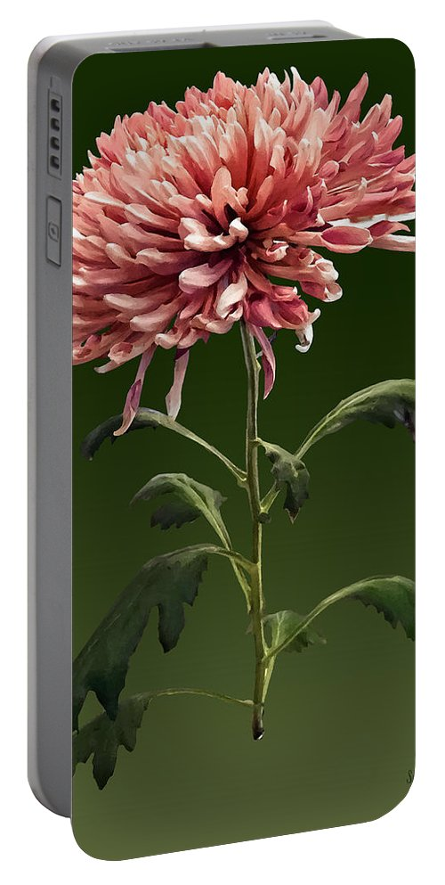 Chrysanthemum Portable Battery Charger featuring the photograph Chrysanthemum Shelbers by Susan Savad