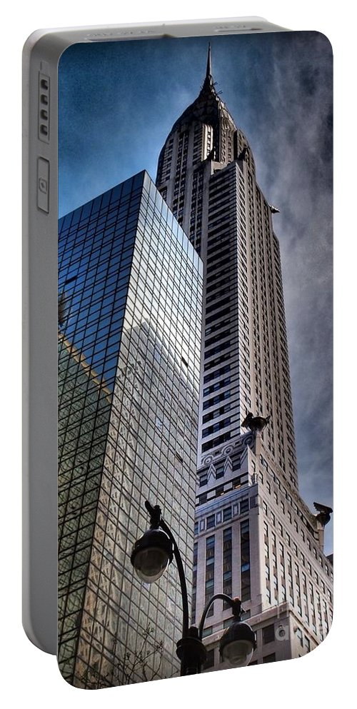Architecture Of New York City Portable Battery Charger featuring the photograph Chrysler Building From Below by Miriam Danar