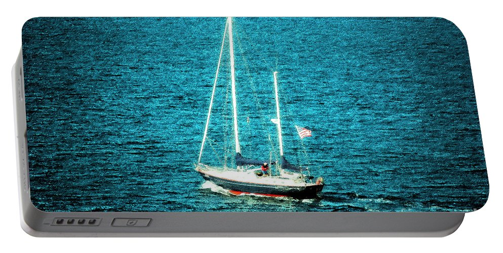 Boat Portable Battery Charger featuring the photograph Chuggin' On Home by Flamingo Graphix John Ellis