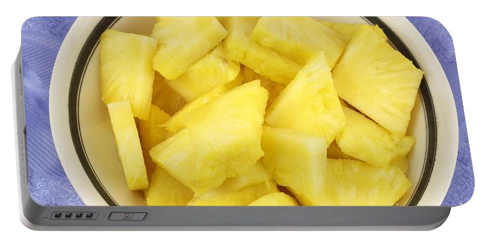 Pineapple Portable Battery Charger featuring the photograph Chunks Of Pineapple by Lee Serenethos