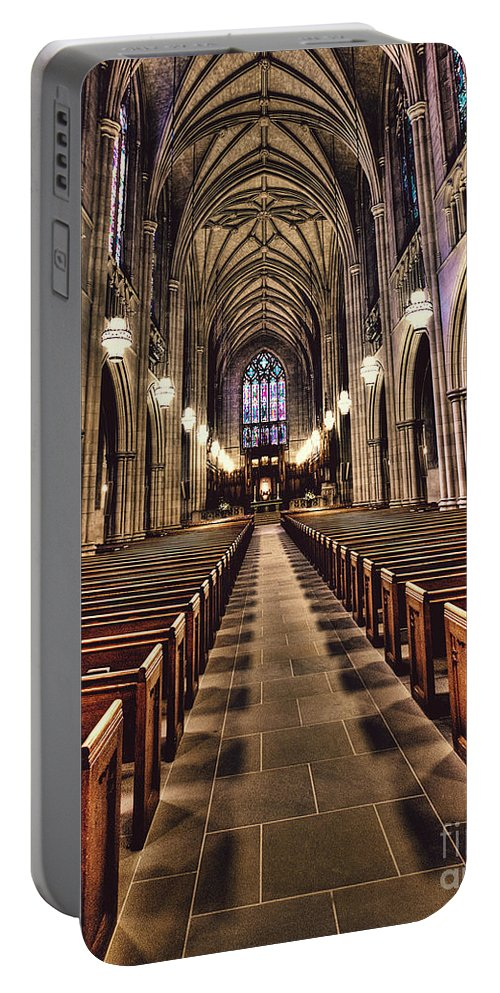 Duke University Portable Battery Charger featuring the photograph Church Aisle by Emily Kay