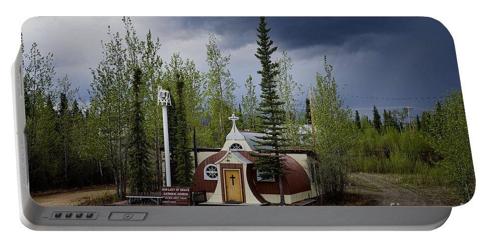 Catholic Church Portable Battery Charger featuring the photograph Church Beaver Creek Yukon by David Arment