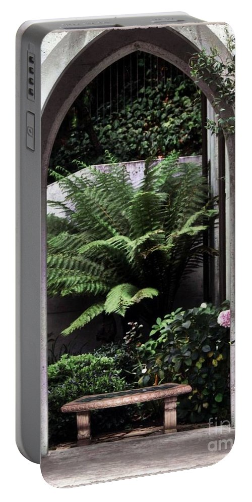 Courtyard.bench Portable Battery Charger featuring the photograph Church Courtyard by Kathleen Struckle