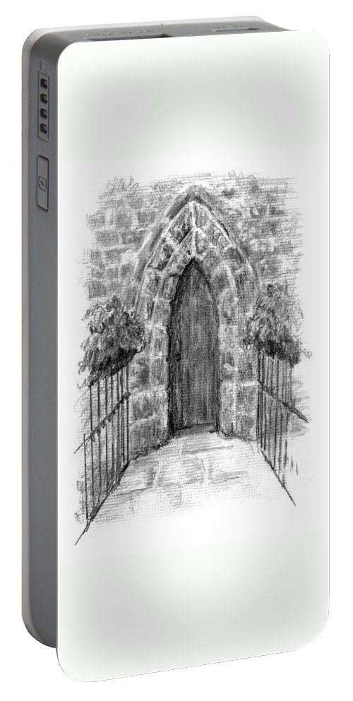 Abbey Portable Battery Charger featuring the painting English Church Door by Sarah Parks