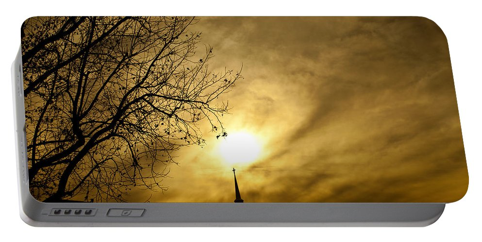 Church Steeple Portable Battery Charger featuring the photograph Church Steeple Clouds Parting by Jerry Cowart