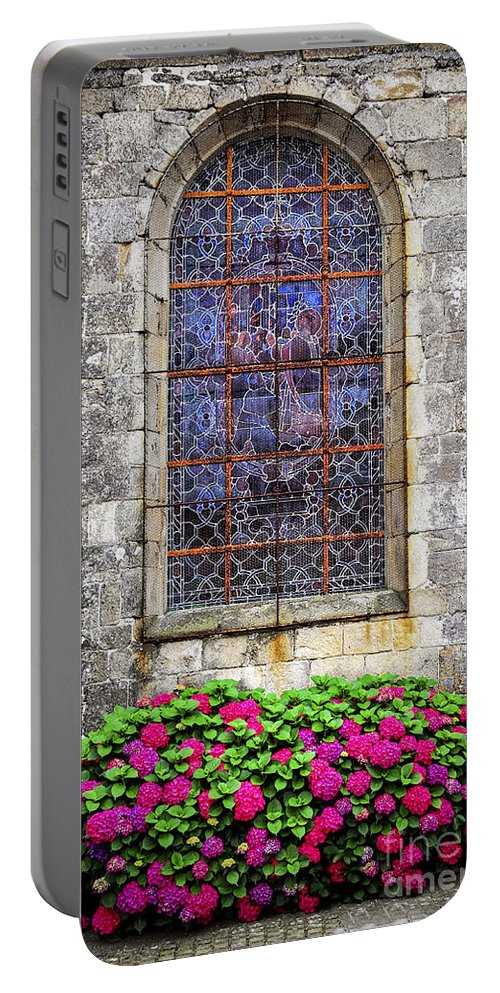 Old Portable Battery Charger featuring the photograph Church Window In Brittany by Elena Elisseeva
