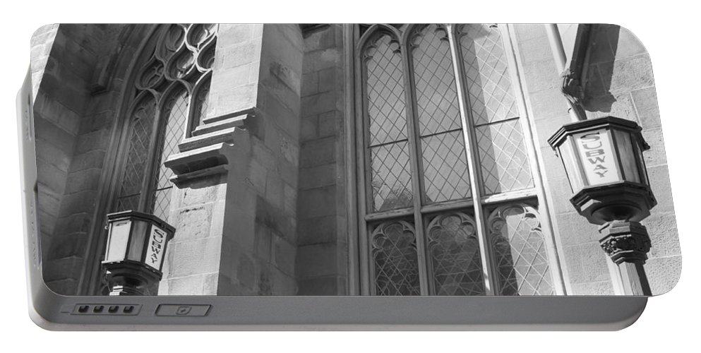 Subway Station Portable Battery Charger featuring the photograph Church Windows And Subway Posts by Catie Canetti