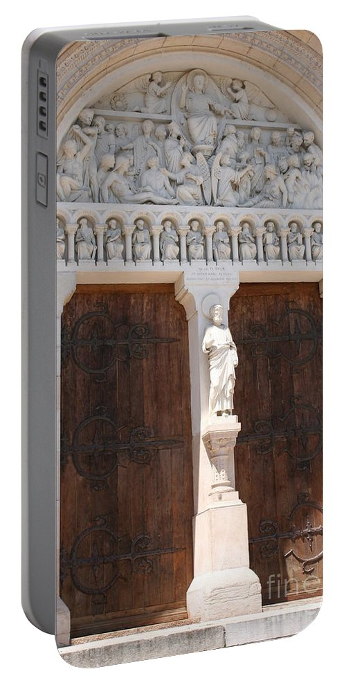 Church Portable Battery Charger featuring the photograph Churchdoor - Saint Peter - Macon by Christiane Schulze Art And Photography