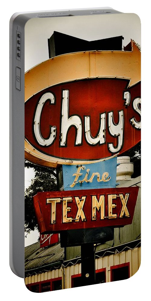 Chuy's Portable Battery Charger featuring the photograph Chuy's Sign 2 by Kristina Deane