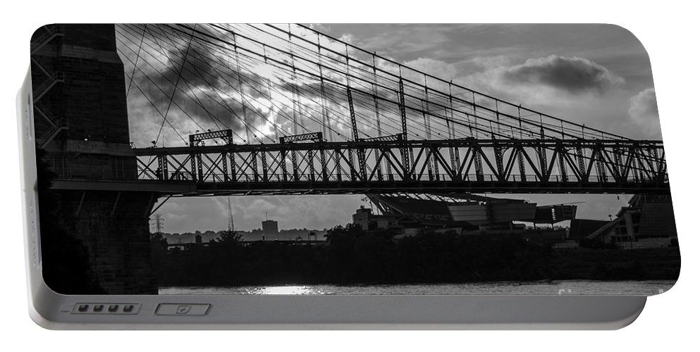 Bridges Portable Battery Charger featuring the photograph Cincinnati Suspension Bridge Black And White by Mary Carol Story