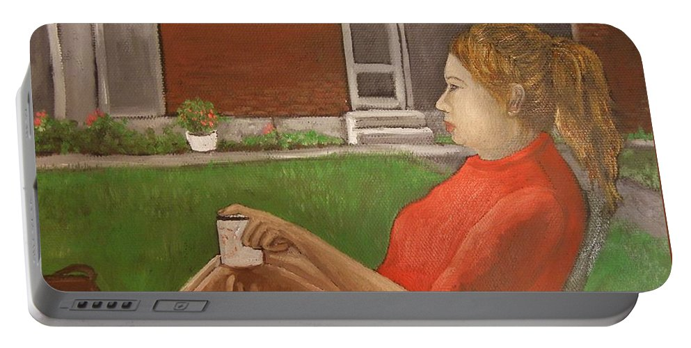 Portraits Portable Battery Charger featuring the painting Cindy's Day by Reb Frost