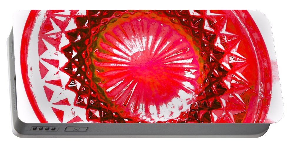 Red Portable Battery Charger featuring the digital art Circle Red by Anita Lewis