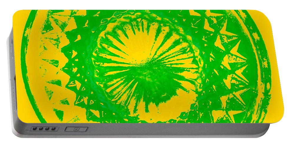 Abstract Portable Battery Charger featuring the digital art Circle Yellow by Anita Lewis