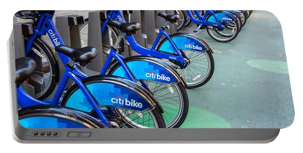 Bicycle Portable Battery Charger featuring the photograph Citibike Rentals Nyc by Amy Cicconi