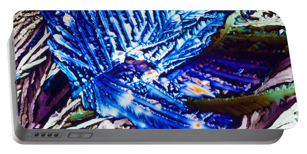 Abstract Portable Battery Charger featuring the photograph Citric Acid Microcrystals Abstract Color Art by Stephan Pietzko
