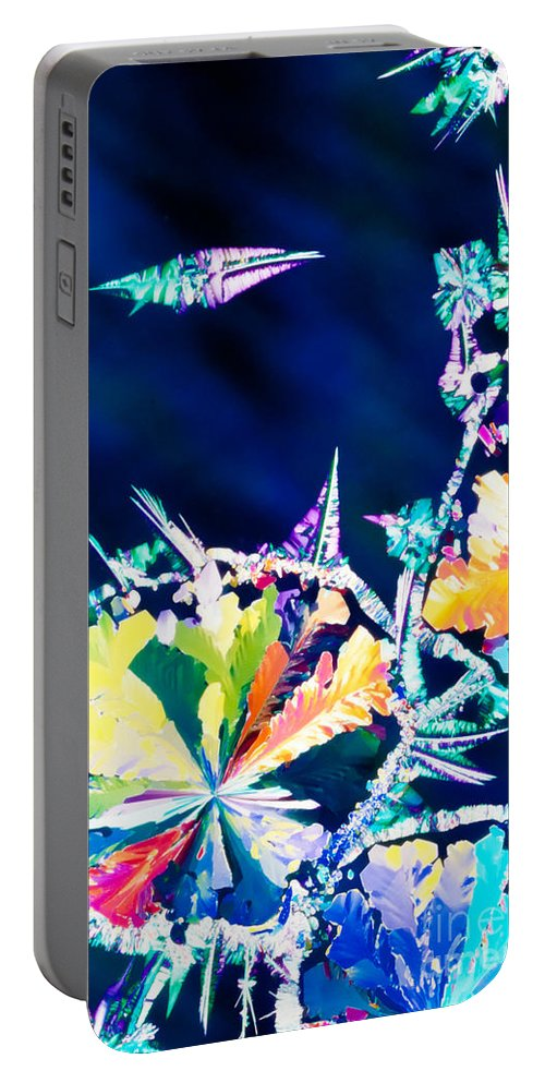 Abstract Portable Battery Charger featuring the photograph Citric Acid Microcrystals Color Abstract Art by Stephan Pietzko