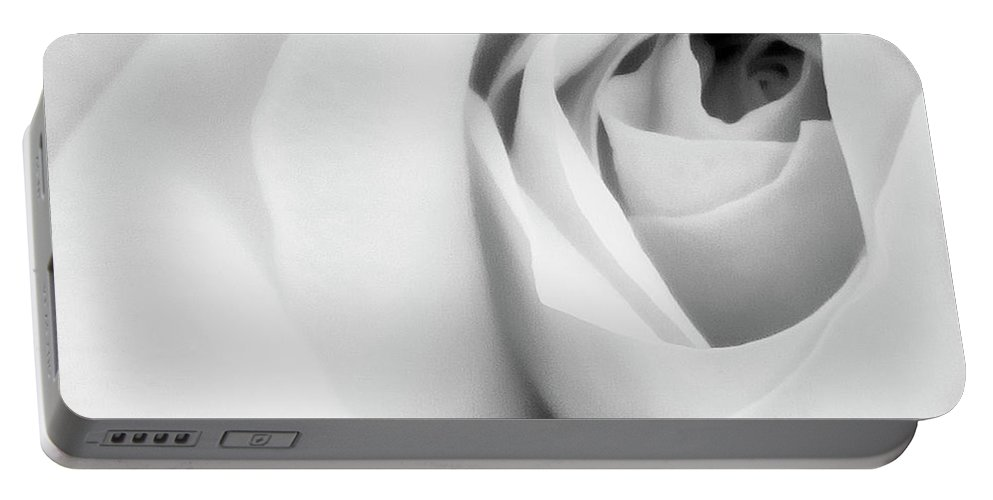 Rose Portable Battery Charger featuring the photograph Citrine Rose Bw Palm Springs by William Dey