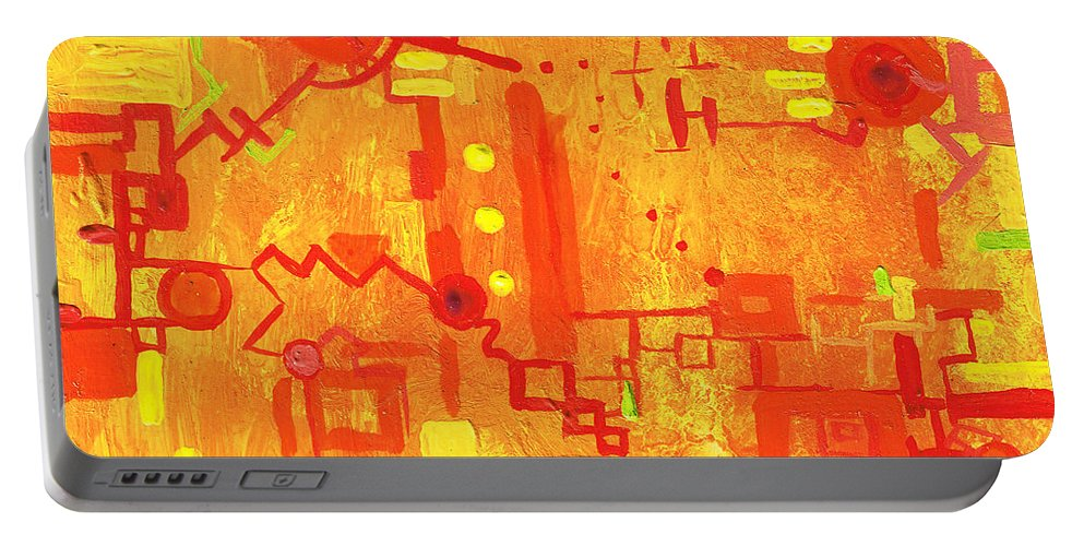 Machinery Portable Battery Charger featuring the painting Citrus Circuitry by Regina Valluzzi