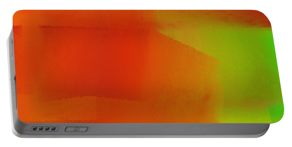 Andee Design Abstract Portable Battery Charger featuring the digital art Citrus Connections Abstract Square 2 by Andee Design
