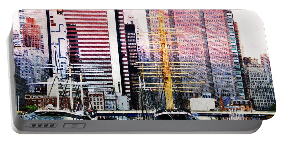New York City Waterfront Portable Battery Charger featuring the photograph City And Water by Alice Gipson