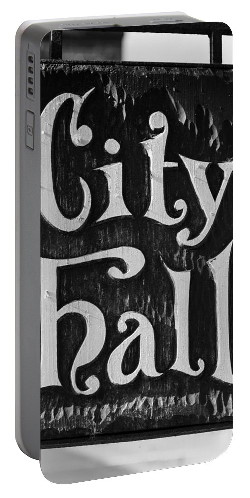 City Portable Battery Charger featuring the photograph City Hall Sign by Carlos Cano