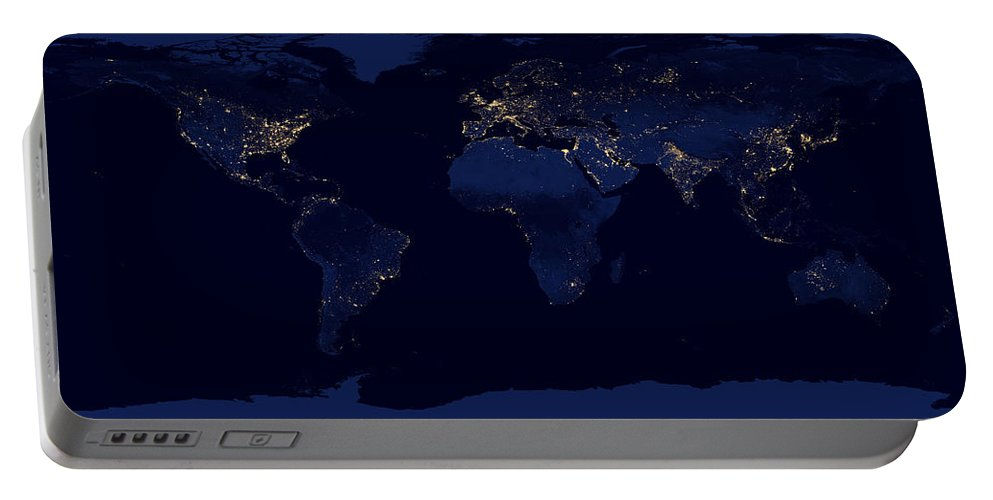 Africa Portable Battery Charger featuring the photograph City Lights - Earth by World Art Prints And Designs