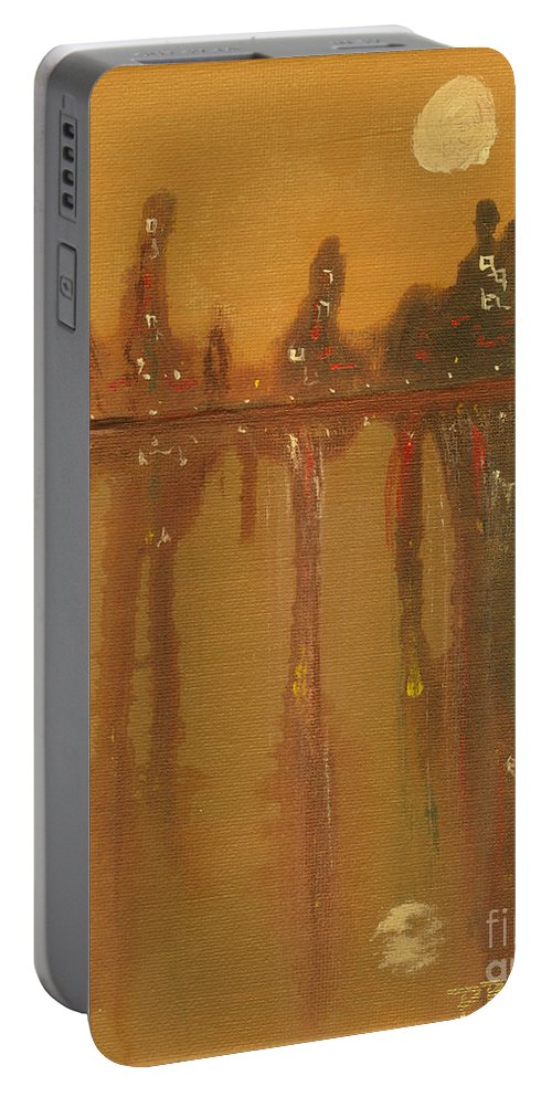 City Portable Battery Charger featuring the painting City Night by Paulette B Wright