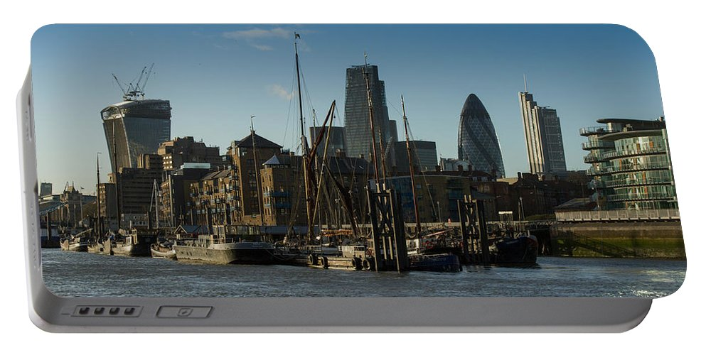 Cheese Grater Building Portable Battery Charger featuring the photograph City Of London River Barges Wapping by Gary Eason