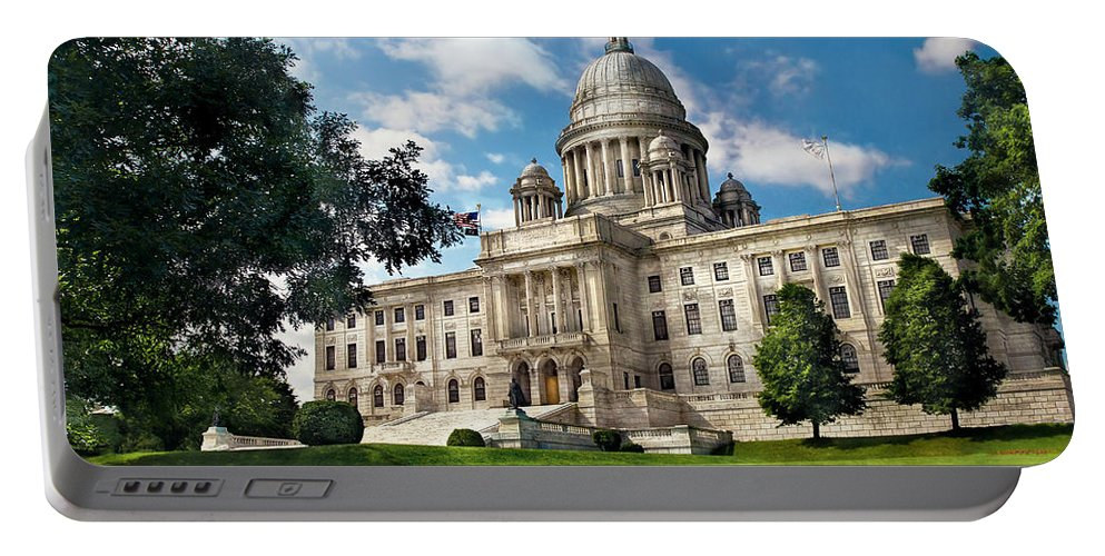 Savad Portable Battery Charger featuring the photograph City - Providence Ri - The Capitol by Mike Savad