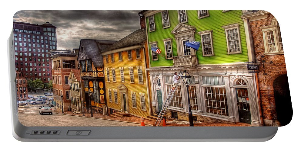 Savad Portable Battery Charger featuring the photograph City - Providence Ri - Thomas Street by Mike Savad