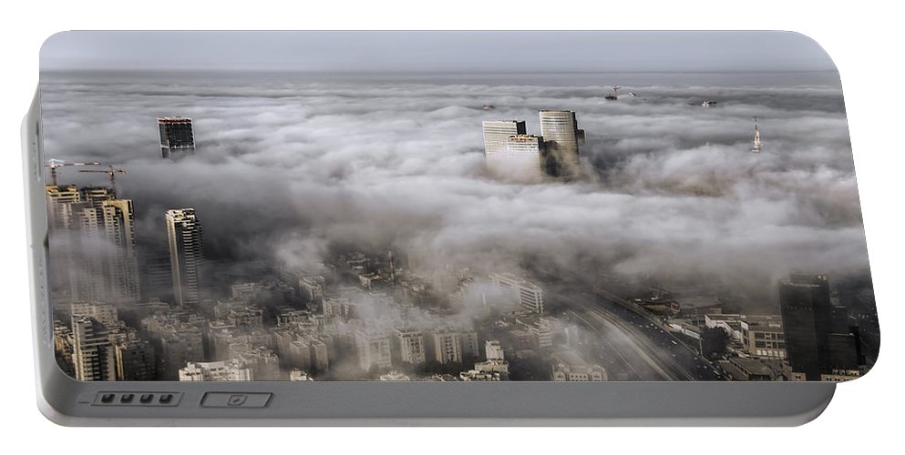 Israel Portable Battery Charger featuring the photograph City Skyscrapers Above The Clouds by Ron Shoshani