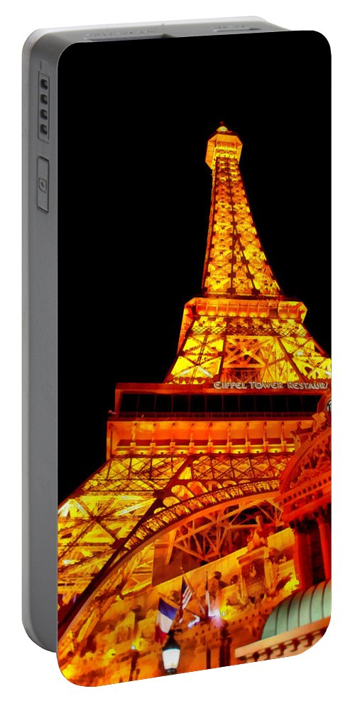 Savad Portable Battery Charger featuring the digital art City - Vegas - Paris - Eiffel Tower Restaurant by Mike Savad