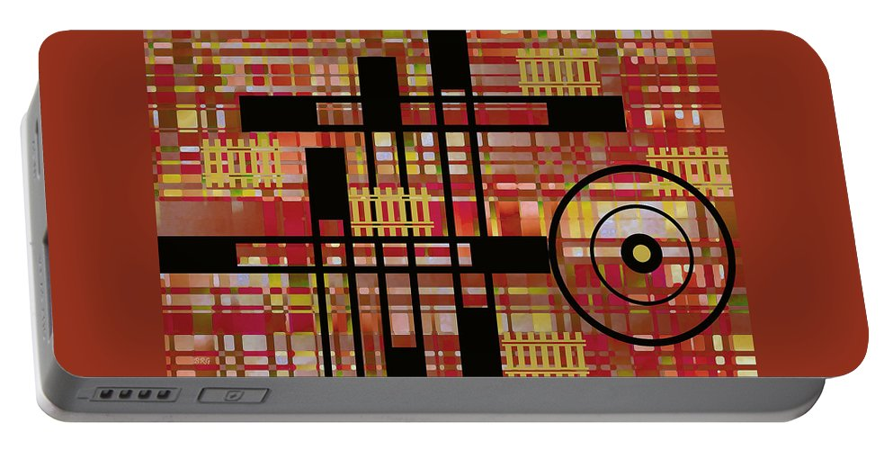 Geometric Abstract Portable Battery Charger featuring the digital art City Works by Ben and Raisa Gertsberg