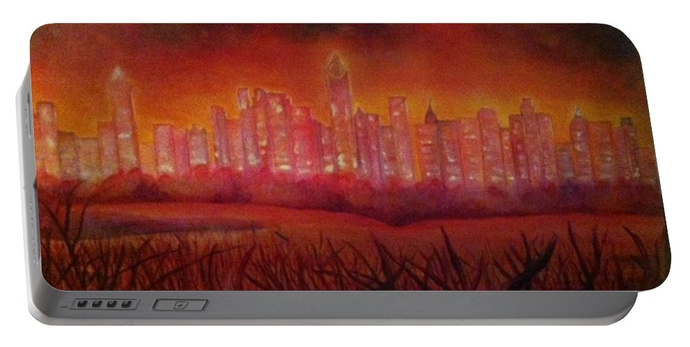 City Portable Battery Charger featuring the painting Cityscape Gold Coast by Ellis Burgess