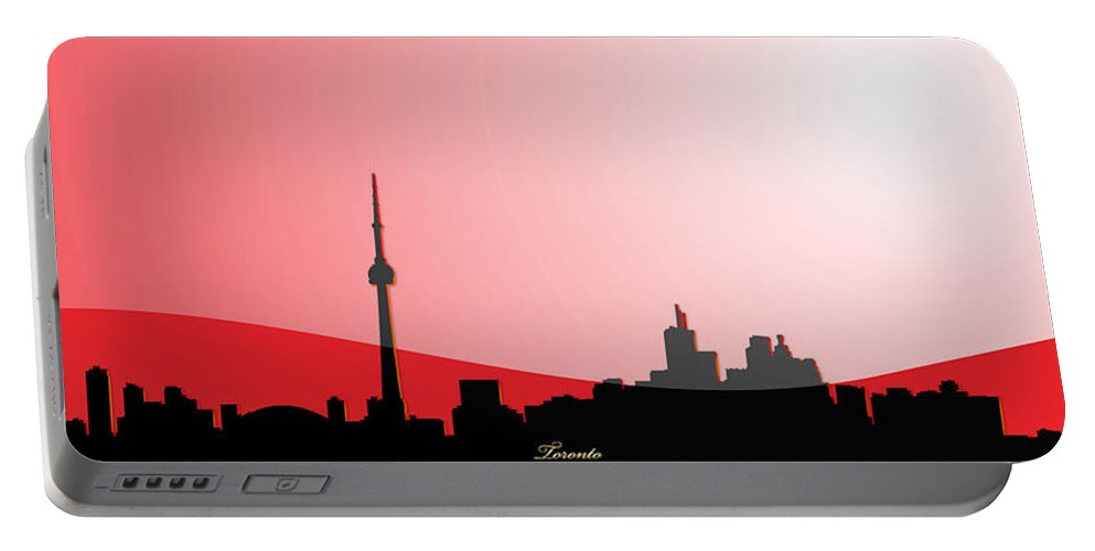 �toronto� Collection By Serge Averbukh Portable Battery Charger featuring the digital art Cityscapes - Toronto Skyline In Black On Red by Serge Averbukh