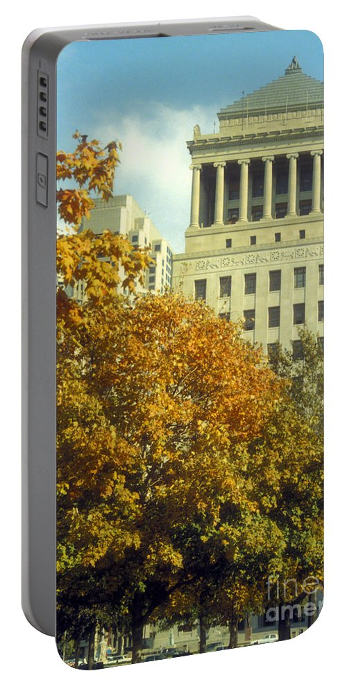 Civil Court Building Buildings Structure Structures Architecture Skyscraper Skyscrapers City Cities Cityscape Cityscapes Tree Trees Autumn Fall Color Colors Leaf Leaves St. Louis Missouri Portable Battery Charger featuring the photograph Civil Court Building by Bob Phillips