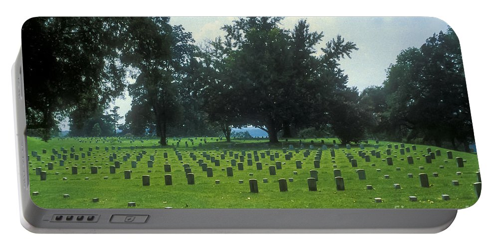 Vicksburg Civil War Museum Museums Cannon Cannons Memorial Park Memorials Parks Mississippi Landscape Landscapes Grave Graves Gravesite Gravesides Tombstone Tombstones Landmark Landmarks Portable Battery Charger featuring the photograph Civil War Gravesites by Bob Phillips
