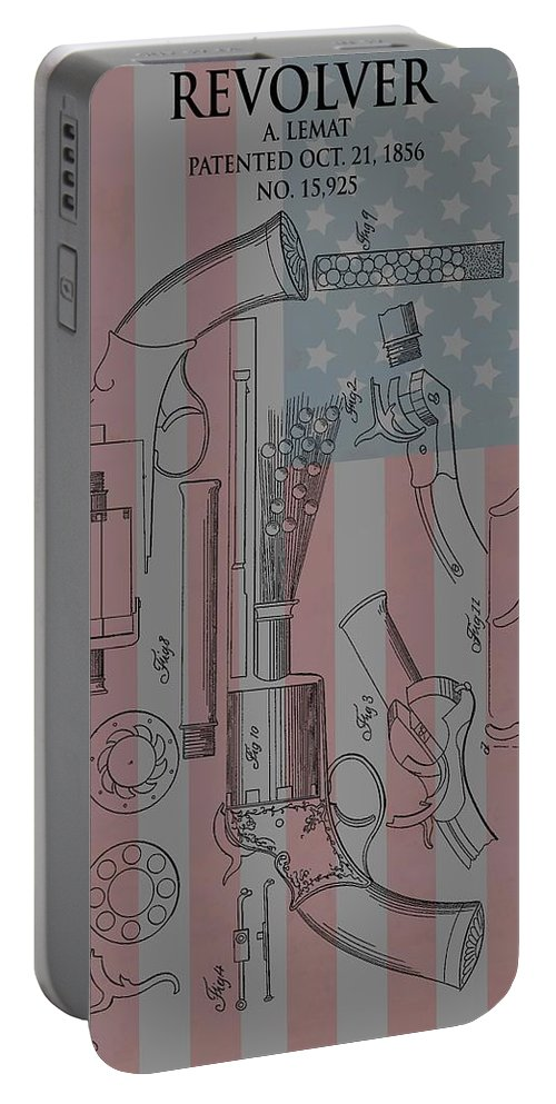 Lemat Revolver Patent Portable Battery Charger featuring the mixed media Civil War Revolver American Flag by Dan Sproul