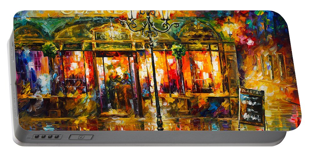 Clarens Portable Battery Charger featuring the painting Clarens Misty Cafe by Leonid Afremov