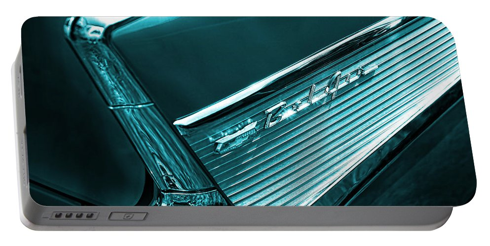 Portable Battery Charger featuring the photograph Classic '57 Teal And Chrome by Gordon Dean II